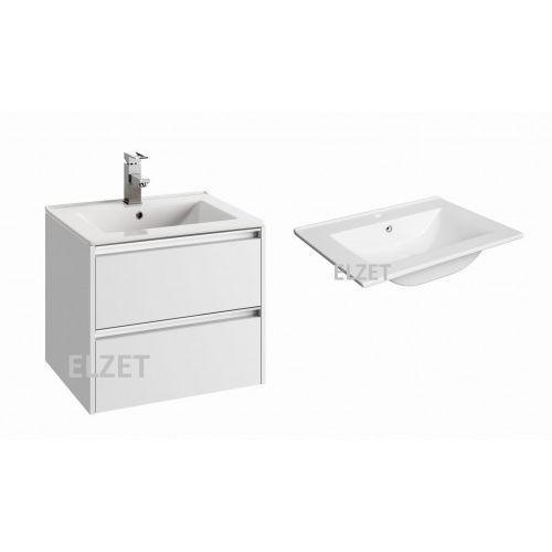 DEFRA szafka Fonte D60 biały połysk + umywalka Plan 60 154-D-06008+1722
