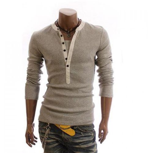 Men's Cotton T-Shirt With Korean Style Faux Twinset Solid Color Long Sleeves Design