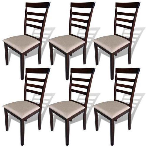 Krzesła do jadalni, 6 szt., drewniane, brązowo-kremowe