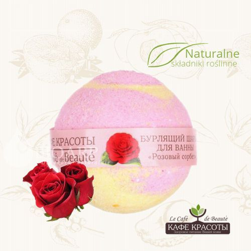 Le cafe de beaute  – musująca kula do kąpieli – sorbet różany (bez sls i parabenów)