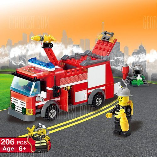 206pcs ABS Building Block Fire Engine Model DIY z kategorii Puzzle