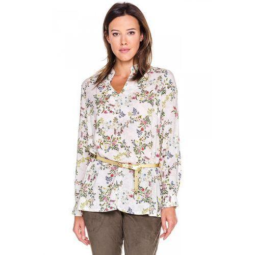 Bluzka w kwiatową łąkę ze stójką - Duet Woman, kolor beżowy