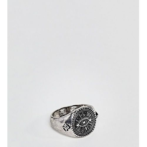 Reclaimed Vintage inspired eye signet ring in silver exclusive to asos - Silver, kolor szary