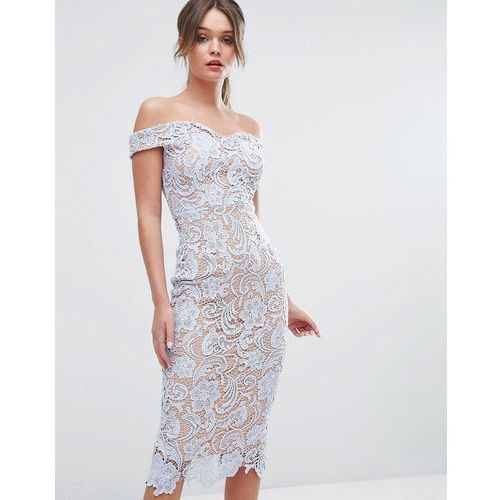 lace off the shoulder midi pencil dress - blue marki Boohoo