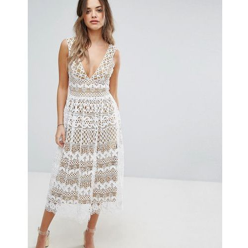 v neck midi lace dress - cream, Boohoo