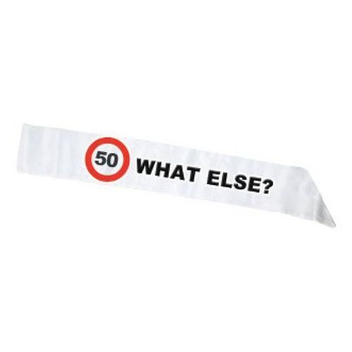 Szarfa biała znak zakazu 50tka - 1 szt. marki F f