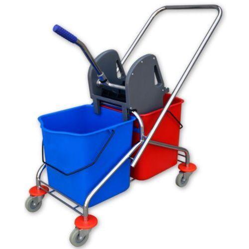Clean Wózek do sprzątania chromowany dwuwiadrowy 2x20 l z wyciskarką wózki do sprzątania mycia podłóg