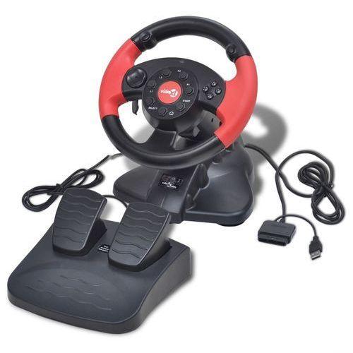 Vidaxl kierownica do gier wyścigowych ps2/ps3/pc, czerwona