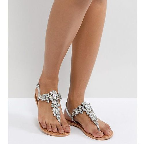 ASOS FAIRLIGHT Leather Embellished Flat Sandals - Silver, kolor szary