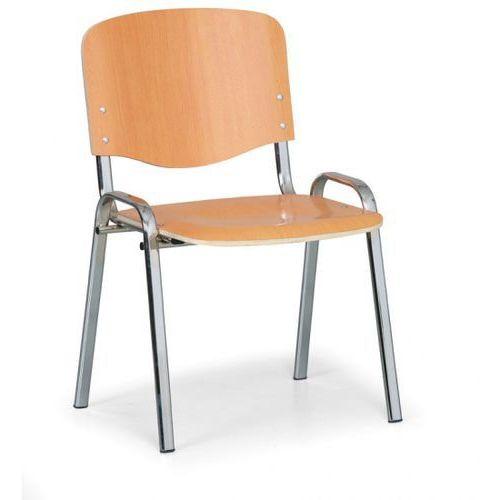 Drewniane krzesło ISO, buk, kolor konstrucji chrom, nośność 120 kg, 3+1 GRATIS