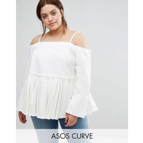 ASOS CURVE Denim Cold Shoulder Top With Pleated Peplum and Cuff Detail - White