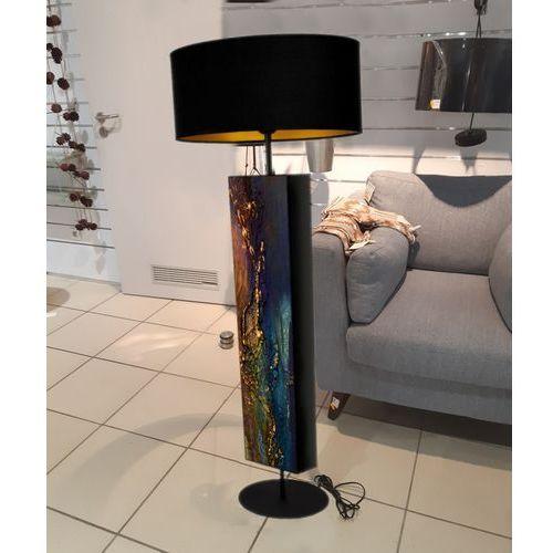 Szmaragdowa dekoracja - ekskluzywna ręcznie rzeźbiona lampa podłogowa