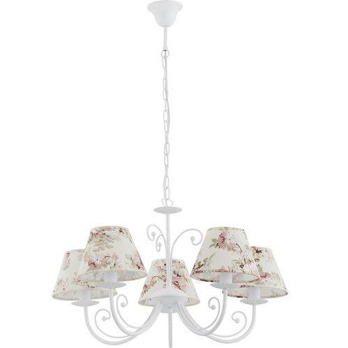Lampa wisząca zwis oprawa TK Lighting Rosa White 5x60W E27 biała/kwiaty 374 (5901780503741)