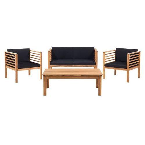 Meble ogrodowe brązowe - ogród - stół + 2 krzesła + ławka - PACIFIC (7081451222671)