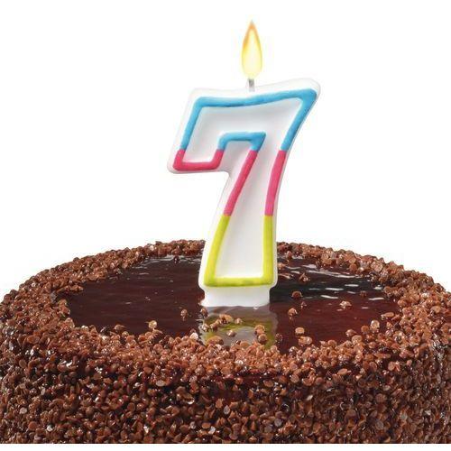 Świeczka na tort urodziny cyfra 7 7,5cm SUSY-CARD - cyfra 7