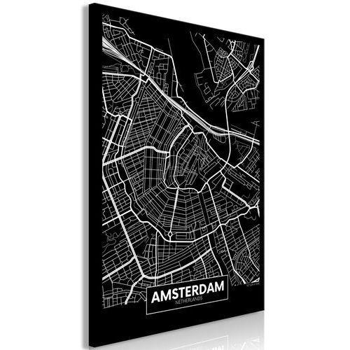 Obraz - ciemna mapa amsterdamu (1-częściowy) pionowy marki Artgeist