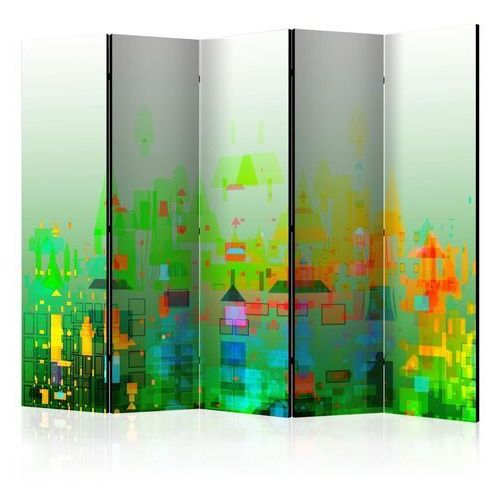 Parawan 5-częściowy - abstrakcyjne miasto ii [room dividers]