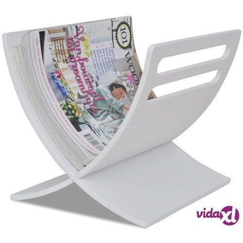 vidaXL Drewniany stojak na gazety, biały