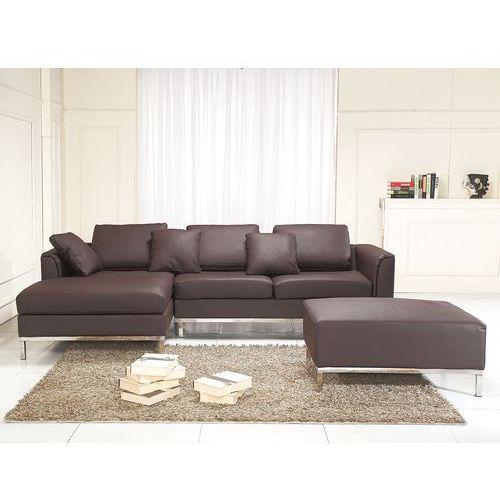 Sofa narożna P – skórzana – brązowa - sofa z pufą - kanapa OSLO - sprawdź w wybranym sklepie