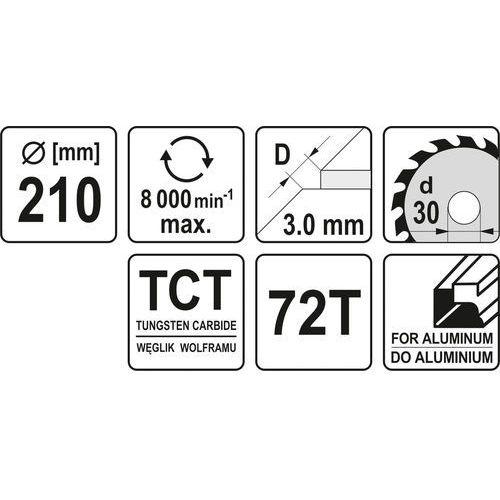 Tarcza widiowa do aluminium 210x72tx30 mm yt-6093 - zyskaj rabat 30 zł marki Yato