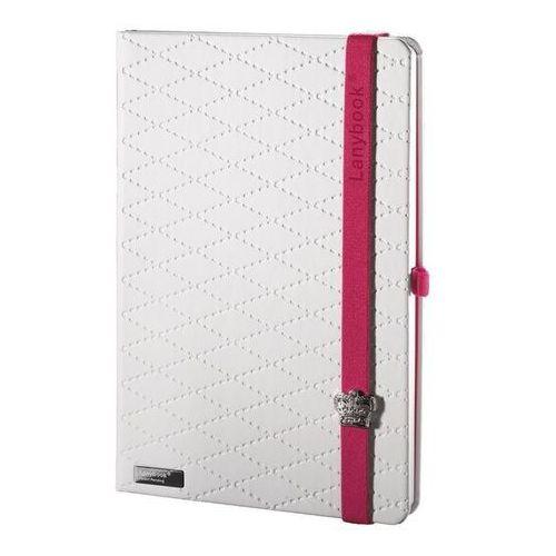 Notes A5 Lanybook Glamorous Beauty w kratkę biały z czerwoną gumką (8057432194816)