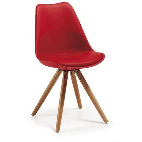 :: krzesło lars czerwone drewniane nogi - czerwony marki Laforma