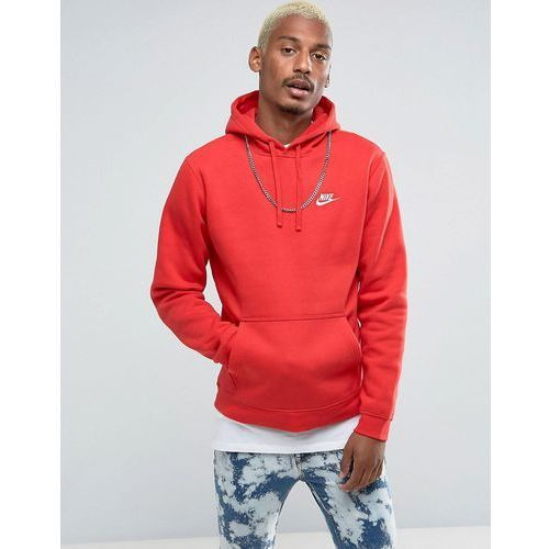 Nike Club Pullover Hoodie With Swoosh Logo In Red 804346-657 - Red, w 5 rozmiarach