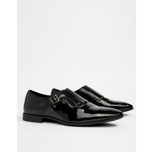 ASOS DESIGN Monk Shoes In Black Faux Leather With Emboss Detail - Black