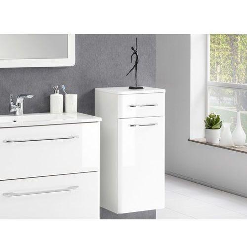 Szafka łazienkowa boczna Beta o wysokości 76,5 cm z szufladą oraz drzwiami.