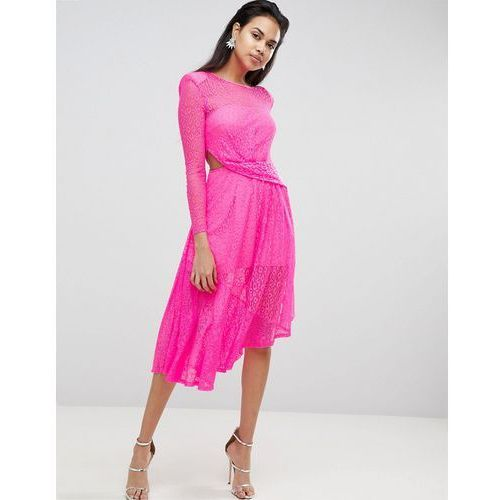 neon lace asymmetric hem midi dress - pink marki Asos
