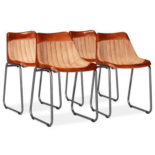 Krzesła do jadalni, 4 szt., skóra i płótno, brązowo-beżowe