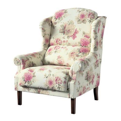Dekoria Fotel Unique, różowo-beżowe róże na kremowym tle, 85 × 107 cm, Mirella, kolor różowy
