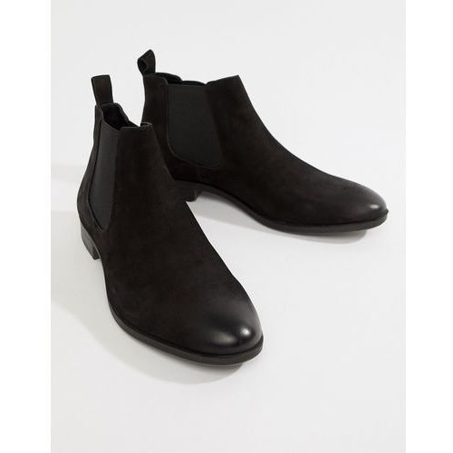 Pier one chelsea boots in waxy black leather - black