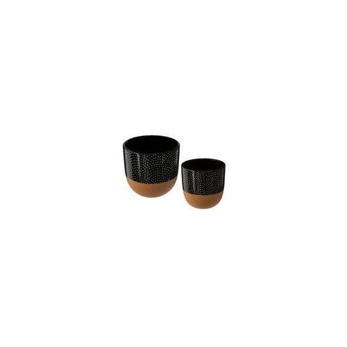 Zestaw 2 doniczek, okrągłe doniczki ceramiczne, kolor czerni i miedzi, doniczka w groszki