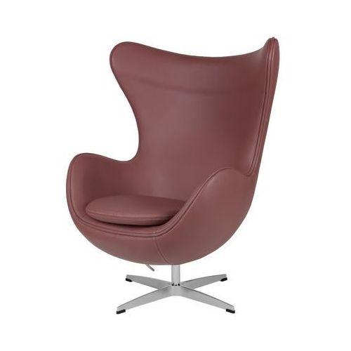 D2.design Fotel jajo inspirowany egg skóra - brązowy jasny (5902385700900)