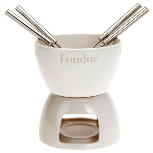 Zestaw do fondue - ceramiczny zestaw do czekoladowego lub serowego fondue dla 4 osób marki Eh excellent houseware