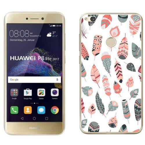 Huawei P8 Lite 2017 - etui na telefon - Kolekcja boho - szaro-różowe piórka - J27