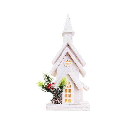 Goliat Drewniany domek / kościół 38 x 14 x 9 cm biały 10 led