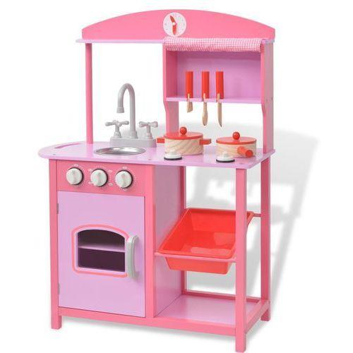 Vidaxl kuchnia zabawkowa 60x27x83 cm, drewno, różowa (8718475509271)