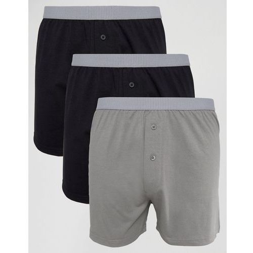 Asos  jersey boxers in monochrome with grey textured waistband 3 pack save - multi