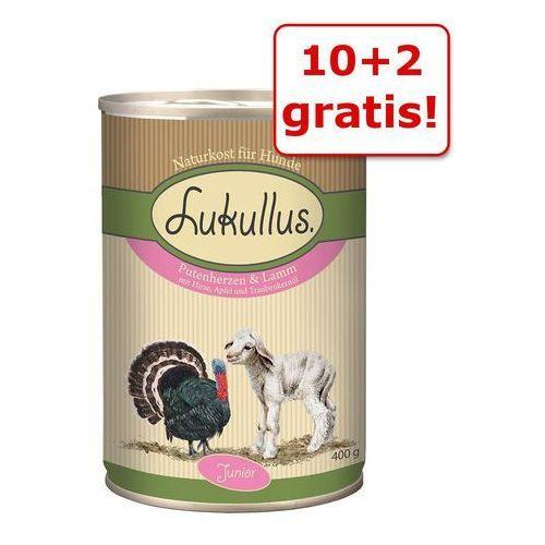 Lukullus 10 + 2 gratis! junior, 12 x 400 g - kurczak z cielęciną