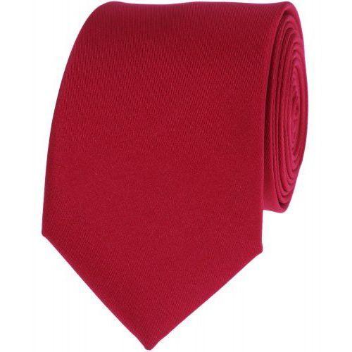 Krawat gładki jednokolorowy czerwony ciemny wąski śledź vip marki Viptextylia