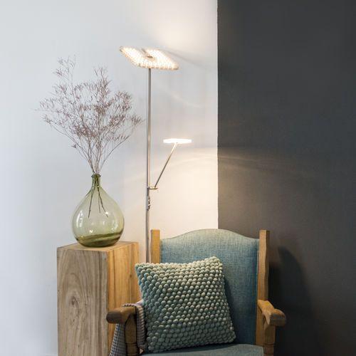 Lampa podlogowa Familia kwadratowa z ramieniem do czytania