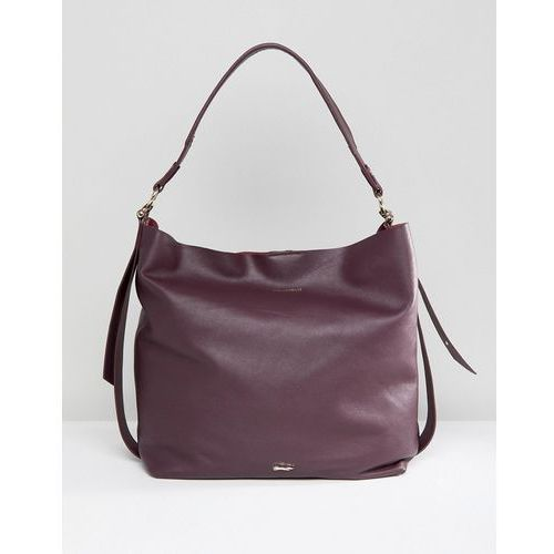 Paul costelloe real leather slouchy shoulder bag in red - red