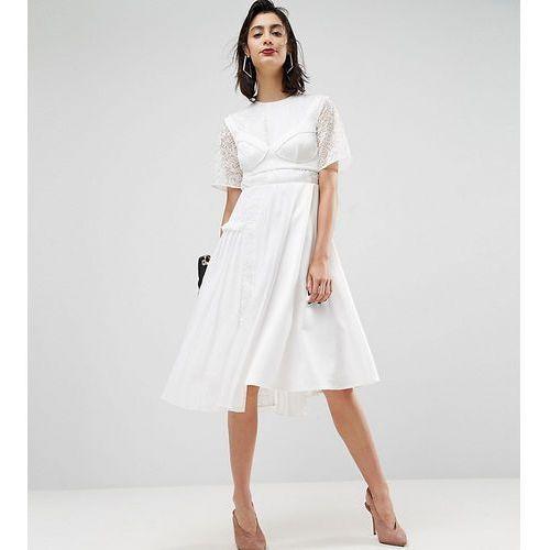 ASOS PREMIUM Satin Pleat Detail Dress With Detachable Bralet - White