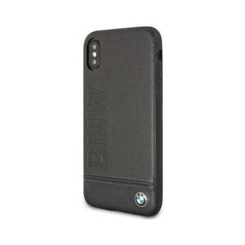 Bmw signature logo imprint case - skórzane etui iphone x z wytlaczanym logo bmw (czarny) (3700740409473)