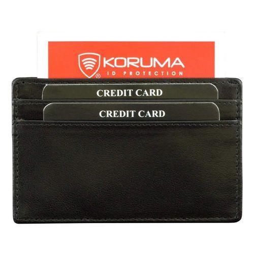 ✅ Skórzane Etui Karty Kredytowe Zbliżeniowe Zabezpiecza Czarny Skóra