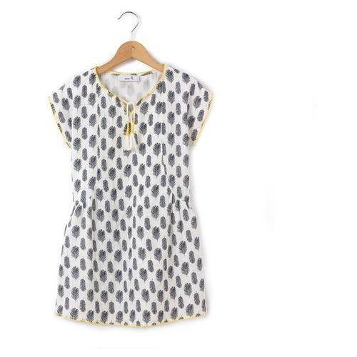 Sukienka z krótkim rękawem, wykonana z materiału z nadrukiem, 3-12 lat