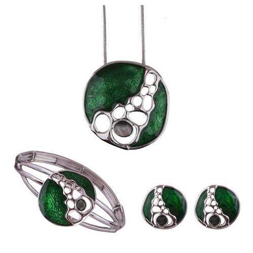 Komplet biżuterii z zieloną ozdobą: naszyjnik, bransoletka i kolczyki, kolor zielony