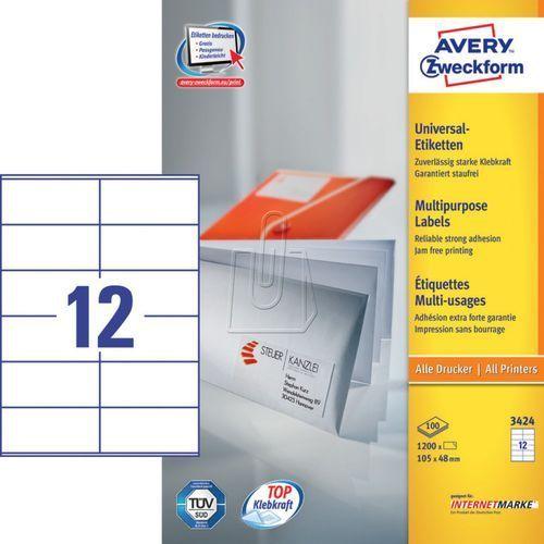 Etykiety uniwersalne trwałe A4 105mm x 48mm 100 arkuszy Avery Zweckform 3424